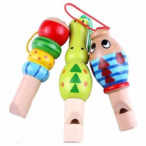 1 pcs Wooden Random color Toys Cartoon Animal Whistle Educational Music Instrument Toy for Baby Kids Children