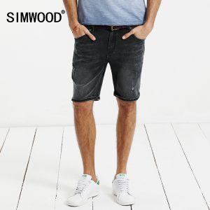SIMWOOD 2017 New Summer  Denim Shorts Men hole Fashion Slim Fit Plus Size KD5049