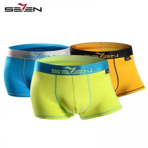Seven7 Brand Men Fashion Underwear Boxers 3 PcsPack High Elastic Sexy Casual Boxers Men Active Shorts Pants 110F08040