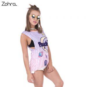 Zohra New Design Woman Tops Psychic Moon Printing Vest Women Fashion Slim Open Sleeve Tank Top