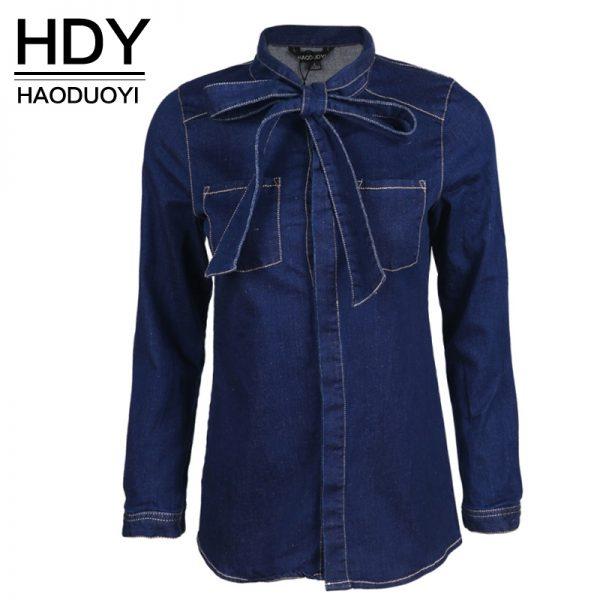 HDY Haoduoyi Single Breasted Long Sleeve Slim Blouse Solid Blue Bow Tie Boyfriend Denim Shirt Turn Down Collar Casual Basic Top