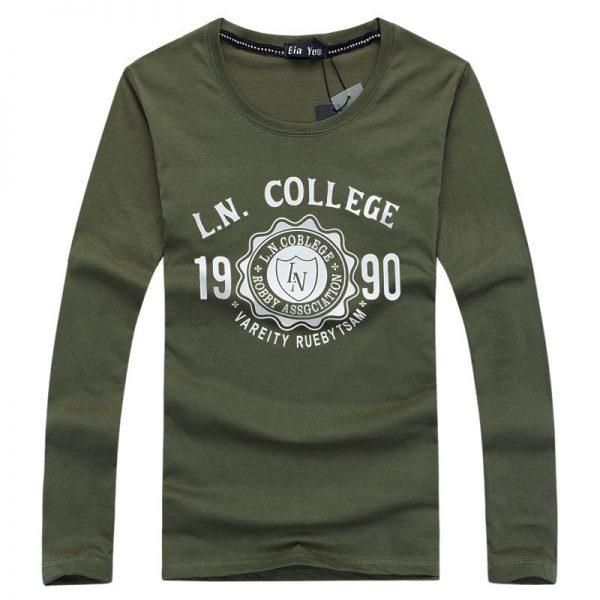 Port&Lotus Men T Shirt  Cotton  Long Sleeve Fashion Brand New Letter Printed Slim Fit Fitness Men Clothes 164 wholesale