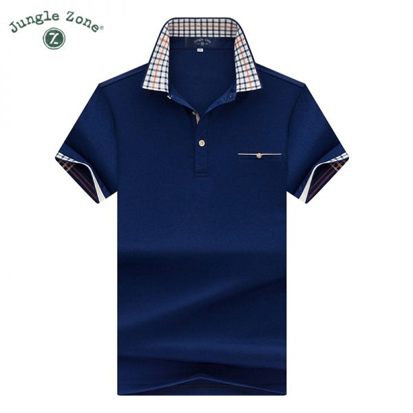 JUNGLE ZONE Men's short-sleeve polo shirt solid color men polos casual short-sleeved thin section lapel polo 7177