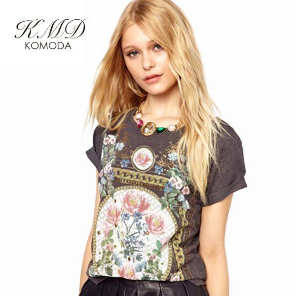 KMD KOMODA Women T-shirt 3Color Crew Neck Short Sleeve Vintage Elegant Harajuku Tee Summer Hipster Floral Print Sweet Female Top