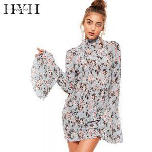HYH HAOYIHUI Floral Print Women Dress Long Flare Sleeve High Collar Casual Vestidos Back Tie Streetwear Sweet Mini Dress