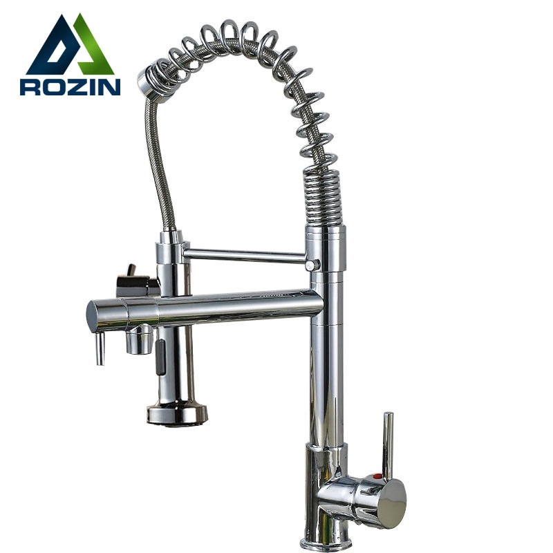 Polished Chrome Spring Pull Down Kitchen Sink Faucet Single Handle