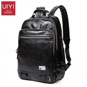 UIYI Men's New Black shoulder backpack PU soft Male Backpack Leisure Men Zipper 14-inch Laptop Bags Multi-pocket