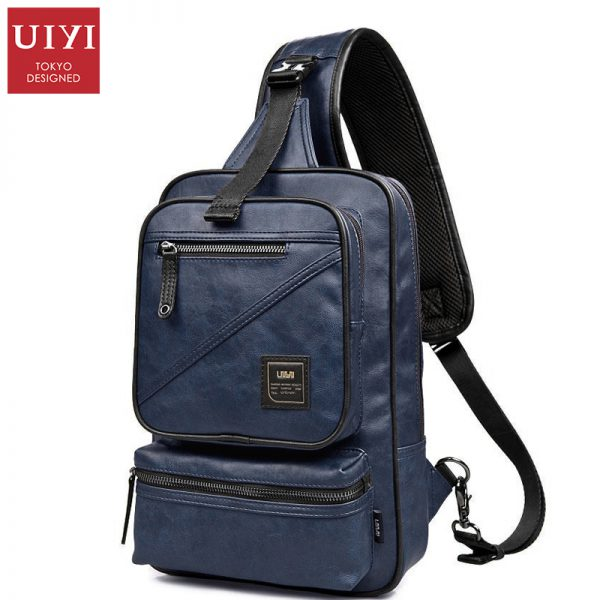 UIYI PU Leather Men Messenger Bag Waterproof Chest Pack Men Handbags Shoulder Bags Casual Male Bag Crossbody
