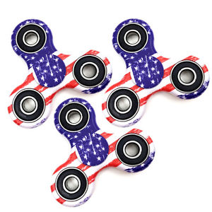 3 Pack: USA Flag Fidget Hand Spinner Anxiety & Stress Relief Manipulative Play