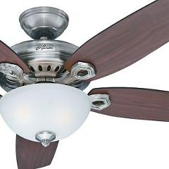 "54"" Hunter Fan Brushed Nickel Ceiling Fan with Light Kit and Remote Control"