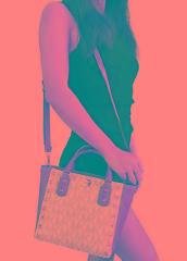 Michael Kors Sandrine Pyramid Stud Mini Tote Crossbody Bag Vanilla MK Signature