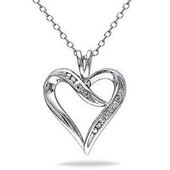 """Sterling Silver Diamond Heart Love Pendant Necklace With 18"""" Chain GH I3 925"""