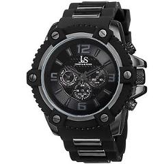 New Men's Joshua & Sons JS94BK Rugged Swiss Day/Date Black Silicone Strap Watch