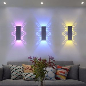 2W 6W Led Wall Lamp Sconce lights Double batteryfly Aluminum fixture Up and down modern AC85-265V for home hotel KTV Bar UR