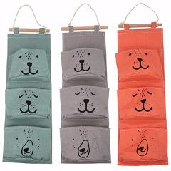Linen Hanging Storage 3 Pockets Organizer Bag Folding Wardrobe Hang Closet Bag Wall Travel Organizer Pockets Home Storage Bag