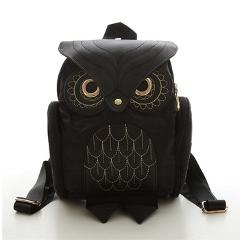 Women Backpack 2017 New Stylish Cool Black PU Leather Owl Backpack Female Shoulder Bag School Bags Herald Fashion mochila