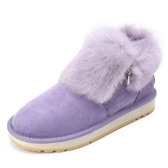 INOE fashion cow suede leather real rabbit fur woman winter ankle snow boots for women short winter shoes zipper rubber sole