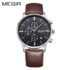 MEGIR Leather Business Men Watch Top Brand Luxury Chronograph Quartz Military Watch Clock Relogio Masculino Horloges Mannen