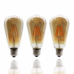 LEDIARY Dimmable Retro Edison Amber ST64 E27 LED Filament Bubble Bulb 2200K 110/220V Antique Vintage ST 64 LED 4W/6W/8W