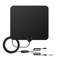 POWSTRO HDTV Antenna Ultra-Thin 6mm 1080P 80 Mile Range Amplified With Detachable Signal Amplifier Booster 10ft Coaxial Cable