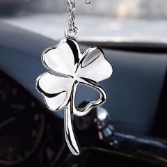 Car Pendant Metal Lucky Clover Auto Rear View Mirror Decoration Hanging Pendant Automobile Decor Suspension Ornaments Gifts