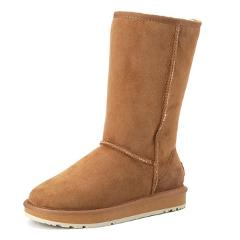 INOE classic high suede real sheepskin leather fur lined rubber sole winter snow boots for women winter shoes 35-44 brown black