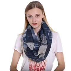 FS Winter Scarves For Women Geometric Print Voile Infinity Collar Ring Neck Warm Scarf Plaid Brand Scarves Echarpe Feminine
