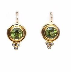 Temple St Clair 18K Gold with Green Peridot Diamond Classic Round Earrings NWT