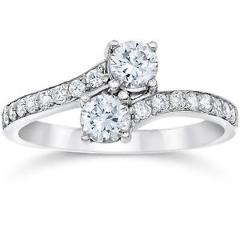 1 Carat Forever Us Round Solitaire Diamond Woven Two Stone Ring 10K White Gold