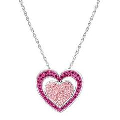Crystaluxe Double Heart Pendant with Swarovski Crystals in Sterling Silver