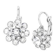 Crystaluxe Flower Drop Earrings w/ Swarovski Crystals Sterling Silver over Brass