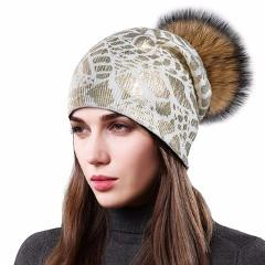 Sole Crowd 2017 Knit beanies with raccoon fur pom pom caps women warm fashion print gold hats winter knitted wool hat for ladies