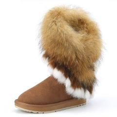 INOE fashion natural fox fur cow suede leather womans winter snow boots for women winter shoes rabbit fur tassels high quality
