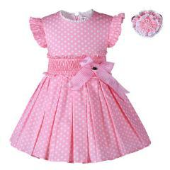 Pettigirl Girls Princess Dresses Pink Dots With Headwear Kids Summer Costumes Child Clothes G-DMGD004-B27