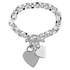 """Sterling Silver Double Heart Love Charm Oval Link Bracelet 7.5"""""""