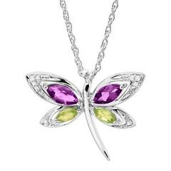 1 ct Natural Amethyst & Peridot Dragonfly Pendant with Diamonds in Silver