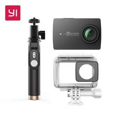 "YI 4K Action Camera Bundle With Waterproof case and Selife Stick 2.19"" LCD Tough Screen Wifi International Version Sports Camera"