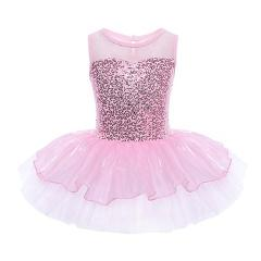 Sequins Kids Children Girls Flower Dancewear Dress Gymnastic Ballet Leotard Tutu Dress Sleeveless Ballerina Fairy Prom Costumes