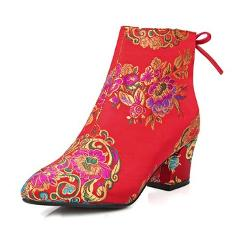 Meotina Women Ankle Boots Chunky Heels Embroider Boots 2017 Autumn Bow High Heel Boots Winter Bridal Shoes Large Size 33-43 Red
