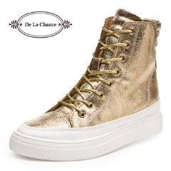 2016 Casual Shoes Women Wedge High Heel Boots High Top Punk Ladies Casual Snickers Wedge Platform Shoes Gold Silver Black