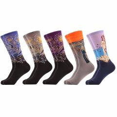 SANZETTI 5 Pairs/lot Funny Starry Of Van Gogh Combed Cotton Socks For Men Soft Breathable Casual Crew Socks Novelty Gift
