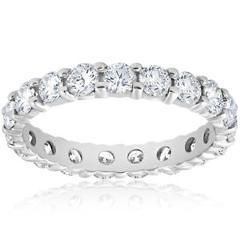 Diamond Eternity Ring 2 Carat Womens Stackable Wedding Band 14K White Gold