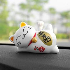 Car Ornament ABS Cute Lucky Cat Solar Energy Shake Hand Creative Lazy Cat Auto Interior Decorations Ornaments Home Decor Gifts