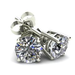 1 1/4 Carat Round Brilliant Cut Natural Diamond Stud Earrings In 14K Gold