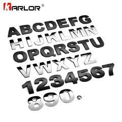 45mm 3D Metal DIY Letters Alphabet Emblem Chrome Car Stickers Digital Badge Automobiles Logo Car Accessories Motorcycle sticker