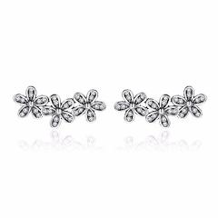WOSTU Genuine 925 Sterling Silver Clear CZ Dazzling Daisy Stacked Flower Floral Stud Earrings Original Jewelry Lady Gift XCHS506