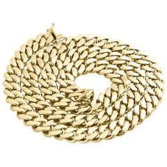 Mens 10K Yellow Gold Hollow Miami Cuban Link Chain 13mm Box Clasp 24-32 Inches