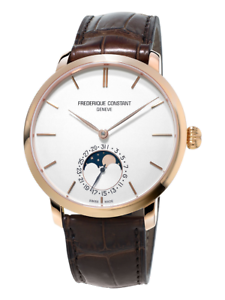 Frederique Constant Men's FC-705V4S4 Moonphase Brown Leather Strap 42mm Watch