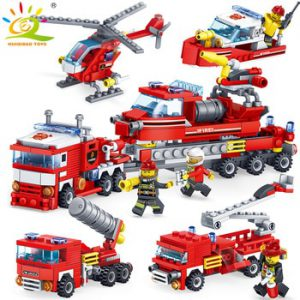 HUIQIBAO 348pcs Fire Fighting 4in1 Trucks Car Helicopter Boat Building Blocks City Firefighter figures man Bricks children Toys
