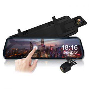 E-ACE Car Dvr 10 Inch Touch Screen Video Recorder Auto Registrar Stream Mirror With RearView Camera  night vision dash cam